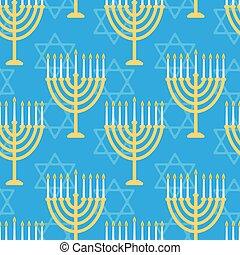 Hanukkah seamless pattern. Background with Hanukkah candles...