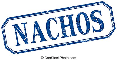nachos square blue grunge vintage isolated label