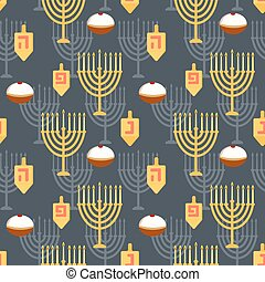 Hanukkah seamless pattern. Seamless pattern with menorah,...