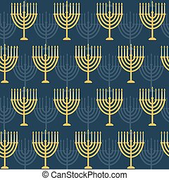 Hanukkah seamless pattern Background with Hanukkah menorah...
