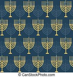 Hanukkah seamless pattern. Background with Hanukkah menorah...