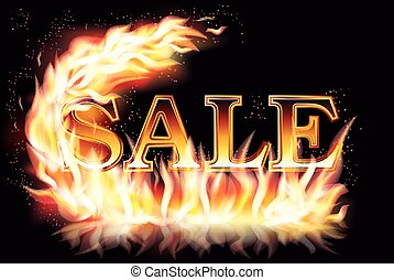 Hot sale banner with fire, vector illustration
