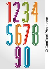Bright numbers with white outline - Tall rounded numbers...