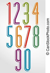 Thin bright rounded numbers with white outline from 0 to 9