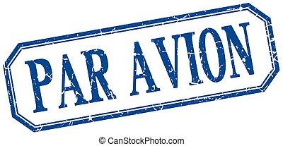 par avion square blue grunge vintage isolated label