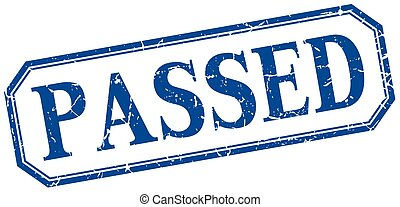 passed square blue grunge vintage isolated label