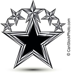Royal black star with silver outline, geometric five...