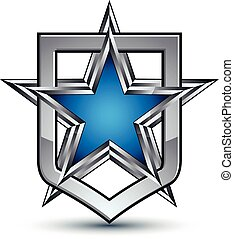 Renown vector silver emblem with pentagonal star, 3d...