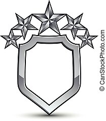 Festive vector emblem with silver outline and five...