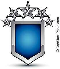 Majestic blue vector emblem with five silver decorative...