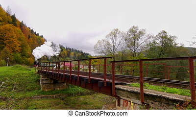 Old Steam Train - Old Steam Engine Train Crossing Bridge