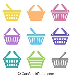 Colorful vector shopping basket icons