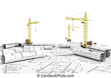 Concept of construction. Blueprints with tower cranes ready to construction.