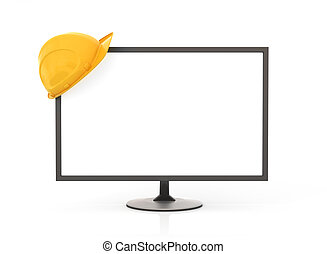 PC screen with helmet on a white background.