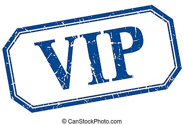 vip square blue grunge vintage isolated label