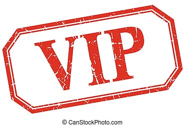 vip square red grunge vintage isolated label
