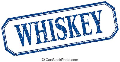 whiskey square blue grunge vintage isolated label