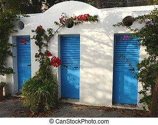 Blue doors in Positano on the Amalfi coast in Italy - Blue...