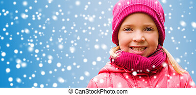 happy little girl portrait over snow background - christmas,...