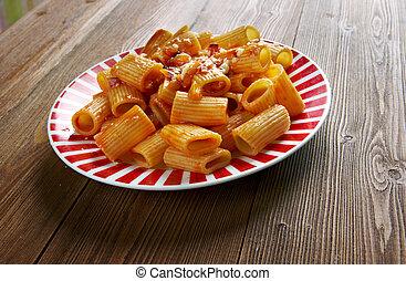 Rigatoni con la Pajata - classic dish of the Roman...