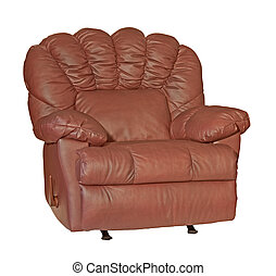Leather Recliner - Leather recliner chair isolated on a...