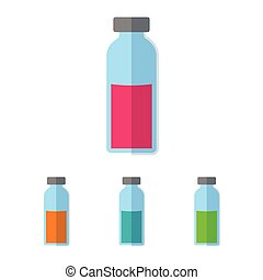 Bottle with colored liquid