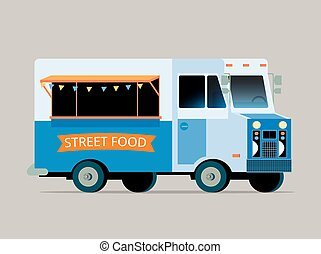 Illustration of food truck - Vector flat illustration of...