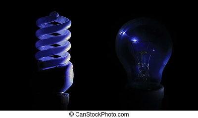 Traditional light bulb and energy saving light bulb