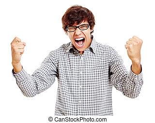 Guy celebrating win