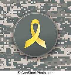 Yellow Military Ribbon on Digital C - A yellow military...