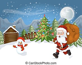 Merry Christmas Card .Illustration of a funny cartoon Santa...