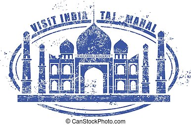 Stamp with Taj Mahal palace - visit India
