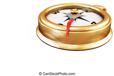 Conceptual image of compass on a white. 3d.