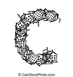 Letter C made from houses, vector alphabet design - Letter C...