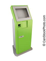 informação, notas, terminal, Quiosque, verde, 3D, Recebendo...
