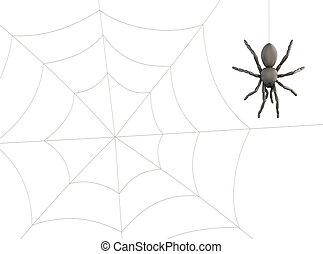 Spider hanging on web 3d - Spider hanging on web on a white...
