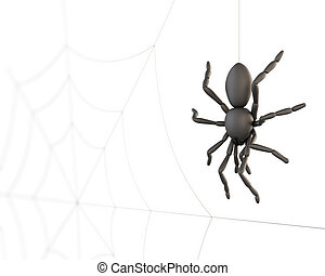 Spider closeup on the background of the web. 3d. - Spider...
