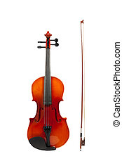 Violin and fiddle stick isolated with clipping path