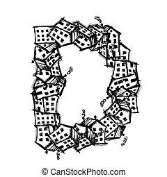 Letter D made from houses, vector alphabet design - Letter D...
