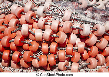 Fishermans net detail background in red tone Horizontal