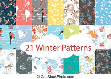 Winter seamless pattern bundle set. Bullfinch, bear, deer,...