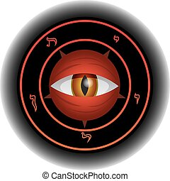 Devil Eye - Eye of powerful and diabolical Satan in magical...