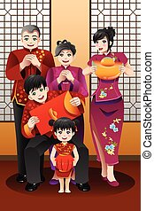 Family Celebrating Chinese New Year