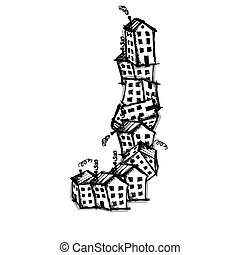 Letter J made from houses, vector alphabet design - Letter J...