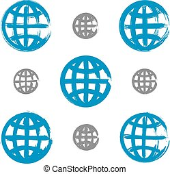 Set of hand-painted earth globe icons isolated on white background, collection of simple blue sphere symbols created with real ink hand-drawn brush scanned and vectorized.