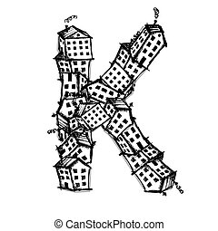 Letter K made from houses, vector alphabet design - Letter K...