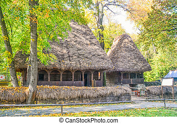 Traditional straw hut near Bucharest, Romania - Old...
