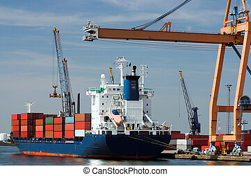 Container ship being unloaded at Antwerp world harbor all...