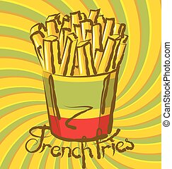 French Fries - vector french fries with calligraphic...