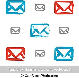 Collection of hand-drawn simple vector mail icons, set of...
